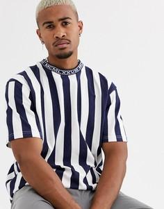 Темно-синяя футболка в полоску Topman-Темно-синий