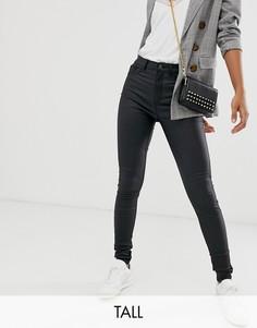 Черные джинсы с покрытием из искусственной кожи New Look Tall-Черный