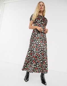 Бархатное чайное платье макси с принтом ASOS DESIGN-Мульти