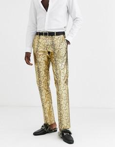 Золотистые брюки скинни со змеиным рисунком Twisted Tailor-Золотой