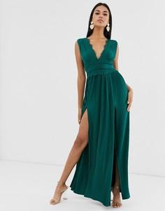 Плиссированное платье макси с кружевной вставкой ASOS DESIGN-Зеленый