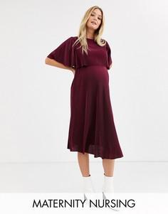 Платье миди для кормления с плиссированным кроп-топом ASOS DESIGN Maternity-Красный