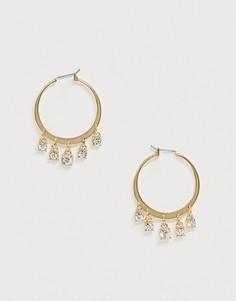 Золотистые серьги-кольца со стразами DesignB London-Золотой