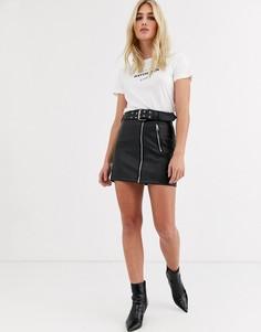 Черная юбка из искусственной кожи с ремнем Topshop-Черный