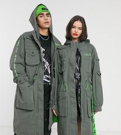 Длинная куртка цвета хаки с принтом COLLUSION Unisex-Черный