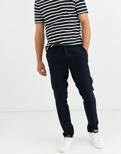 Темно-синие брюки классического кроя в тонкую полоску Selected Homme-Темно-синий