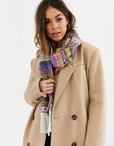 Женский вязаный шарф с разноцветным рисунком Фэйр-Айл Boardmans-Мульти