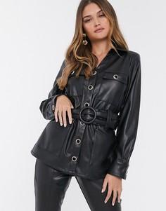 Черная рубашка в стиле милитари из искусственной кожи River Island-Черный