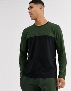 Лонгслив цвета хаки со вставками колор блок Calvin Klein-Зеленый