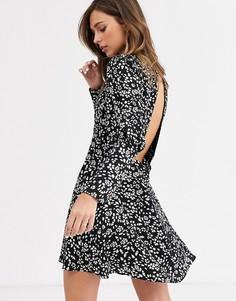 Черное платье мини с пышными рукавами и цветочным принтом Topshop-Черный