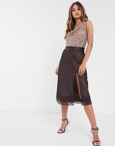 Атласная юбка миди шоколадного цвета с разрезом и кружевной отделкой Vero Moda-Коричневый