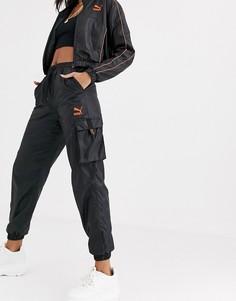 Черные блестящие джоггеры с карманами в стиле милитари Puma-Черный