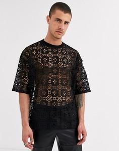 Черная кружевная oversize-футболка ASOS DESIGN-Черный