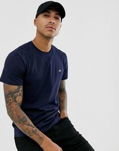 Темно-синяя футболка из хлопка пима с логотипом Lacoste-Темно-синий