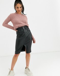 Черная юбка миди из искусственной кожи Bershka-Черный