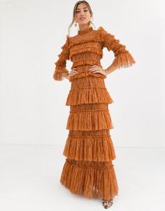 Темно-оранжевое ярусное платье макси из кружева By Malina-Коричневый