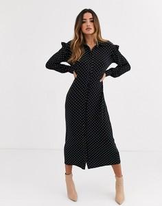 Платье-рубашка макси в монохромный горошек с длинными рукавами ASOS DESIGN-Мульти