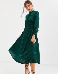 Изумрудно-зеленое бархатное платье макси с длинными рукавами By Malina-Зеленый