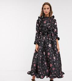 Жаккардовое платье макси с пышной юбкой и звездным рисунком Sister Jane-Черный