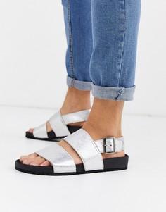 Серебристые кожаные сандалии ASOS DESIGN-Серебряный