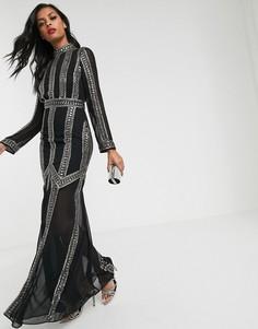 Платье макси с отделкой в виде полосок ASOS DESIGN-Черный