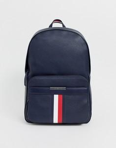 Темно-синий рюкзак из искусственной кожи с фирменной полоской Tommy Hilfiger-Черный
