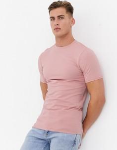 Розовая облегающая футболка River Island-Розовый