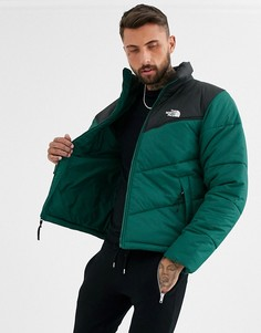Темно-зеленая дутая куртка The North Face-Зеленый