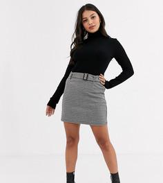 Серая мини-юбка в клетку с поясом Vero Moda Petite-Мульти
