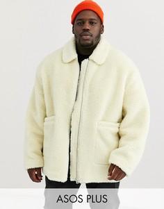 Светло-бежевая плюшевая куртка Харрингтон ASOS DESIGN Plus-Кремовый