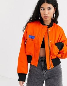 Oversize-бомбер с логотипом на спине Local Heroes-Оранжевый