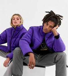 Фиолетовая дутая куртка унисекс COLLUSION-Фиолетовый