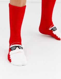 Носки-слиперы с аппликацией Санта-Клауса ASOS DESIGN-Мульти