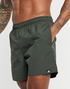 Шорты для плавания цвета хаки adidas-Зеленый
