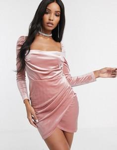Бархатное платье с длинными рукавами ASOS DESIGN-Розовый