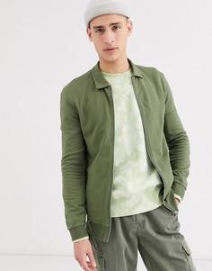 Облегающая куртка Харрингтон цвета хаки ASOS DESIGN-Зеленый