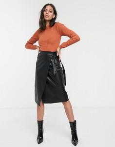 Черная юбка миди из искусственной кожи Monki-Черный