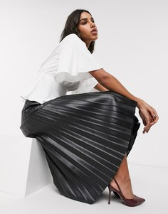 Черная плиссированная юбка миди из искусственной кожи Topshop-Черный