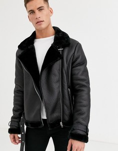 Куртка авиатор из искусственной кожи Barneys Originals-Черный
