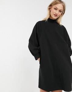 Черное трикотажное платье мини с пышными рукавами Monki-Черный