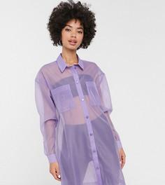 Фиолетовая oversize-рубашка из органзы Monki-Фиолетовый