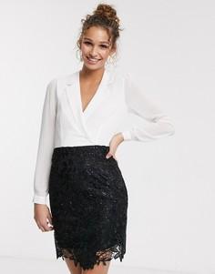 Черно-белое платье-смокинг мини 2-в-1 Paper Dolls-Мульти