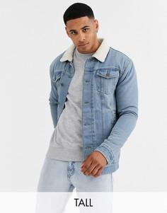 Синяя джинсовая куртка с подкладкой из искусственного меха Brave Soul Tall-Синий