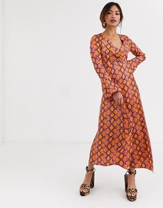 Платье макси с запахом и змеиным принтом ASOS DESIGN-Мульти