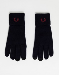 Темно-синие перчатки для сенсорных экранов из 100% мериносовой шерсти Fred Perry-Темно-синий