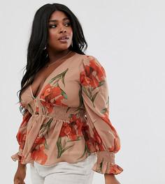 Блузка с глубоким вырезом, присборенной отделкой и принтом Skylar Rose Plus-Светло-коричневый