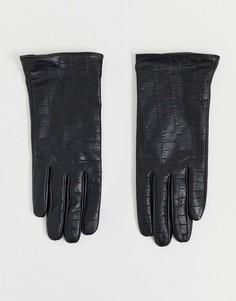 Кожаные перчатки с крокодиловым рисунком Barneys Originals-Черный
