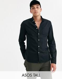 Эластичная облегающая джинсовая рубашка черного цвета ASOS DESIGN Tall-Черный