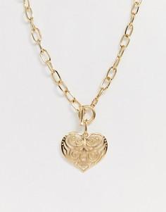 Золотистая цепочка с подвеской в форме сердца DesignB London-Золотой