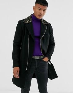 Черное пальто с леопардовым принтом на воротнике Religion-Черный